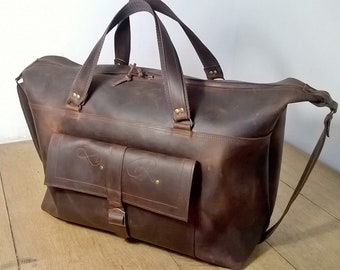 Large Leather Luggage  Holdall,  Men's Custom Leather Duffel Bag, Classic Leather Travel Holdall, Leather Cabin Luggage,  Carry on bag.