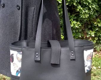 Large Black Leather Tote.Blakc Leather Shoulder Bag, Black Leather Handbag, Large Leather Tote,  Butterfly Pattern Linen. The Rachel.