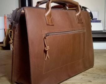 Men's Leather Briefcase. Leather Messenger. Unisex Messenger, Leather Work Bag, Leather Laptop Bag. The Nicholas in Dark Tan.