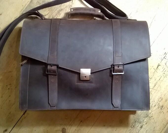 Men's Leather Briefcase, Smart Satchel. Leather Messenger Bag, Leather Man Bag, Unisex Messenger, Leather Laptop Bag,  Leather Satchel.