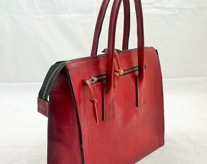 Small Red Leather handbag. Leather Tote, Custom Handmade Leather Bag , 1940's inspired, Ladies Leather Handbag. The Ellie. Suede Lined.