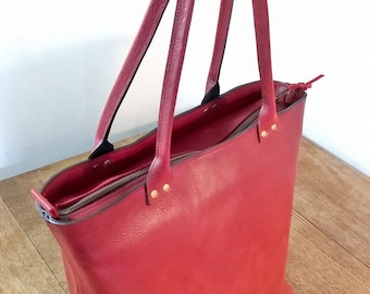 Medium Red Leather Tote. Medium Red Leather Hand Bag.  Red Leather Shopper Tote.  Red Leather Shoulder Bag. Red Leather Tote. The Nanny Jean