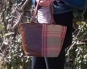 Leather Handbag, Leather Tote, Handmade cross-body bag. Rustic Bag. Ladies, unique, leather and tartan tweed fabric Handbag. The Elizabeth.