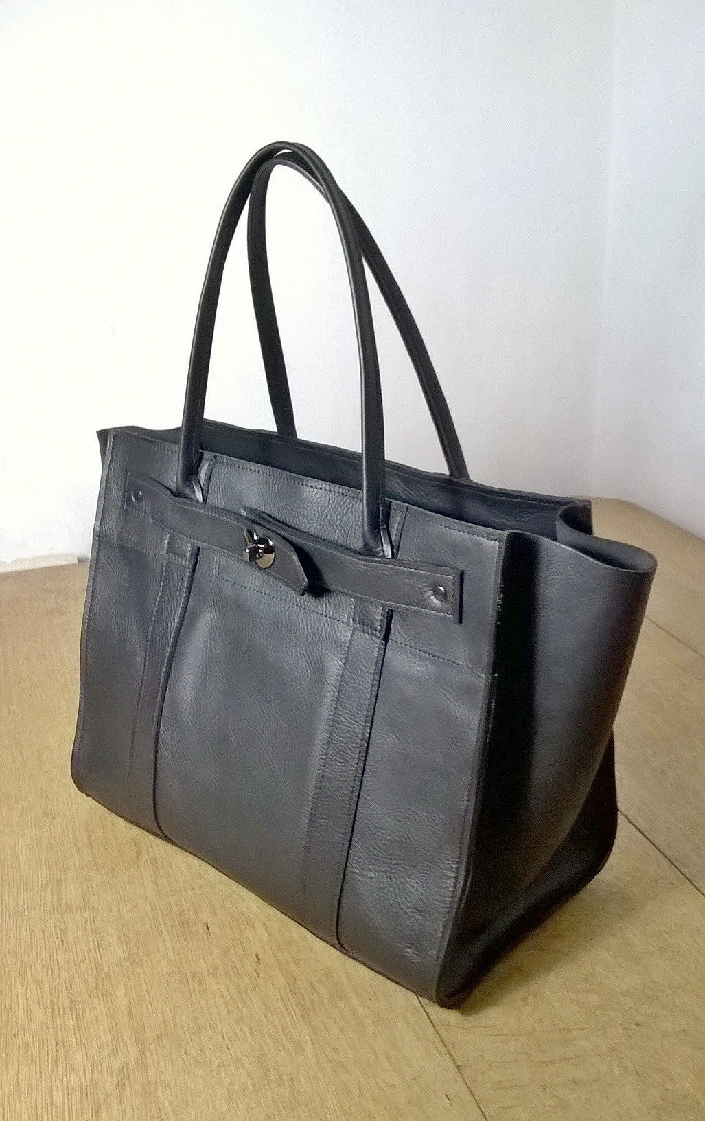 0bb4851c1dac Ladies Black Leather Tote Handbag. Large black leather Tote. Leather  Shoulder Bag