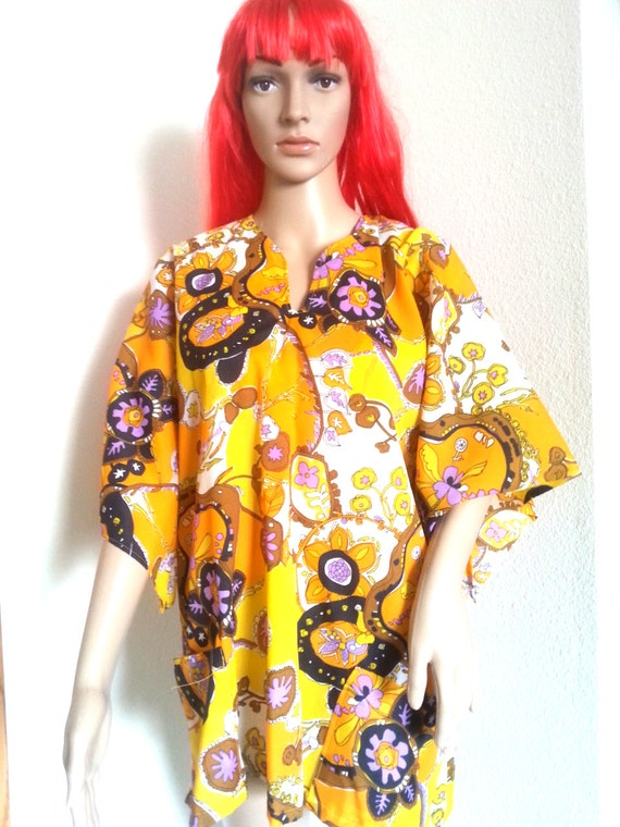 Vintage 60's Psychedelic Pullover Flower Hippie Bo