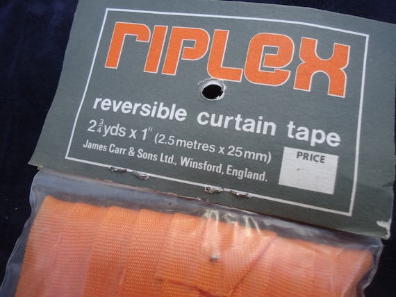 Reversible Curtain Tape Vintage RIPLEX English Packet of Tape 5 Meters of 1 Inch 25mm  Tape New Old Stock ORANGE 1970s