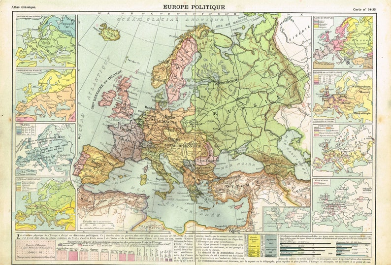 Beautiful Vintage French Atlas Book Plate from 1913. This Map showing  Central Europe, and Germany Belgium, Holland Switzerland pre WW1 Map
