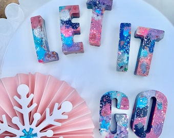 """Handmade Letter Crayons. Purple, Blue, Pink, Silver. """"LET IT GO"""". Party Favor. Kids gift. Kids party."""