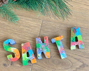 """Handmade Letter Crayons. Christmas and Holiday """"SANTA"""" Stocking Stuffers. Party Favor. Kids gift. Kids party. Educational toy."""