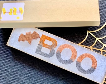 """Halloween Resin Letters. """"BOO"""" Glitter resin letters with bat. Halloween decor. Sensory bins. Learning toy. Charcuterie board decor."""