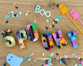 """Handmade Letter Crayons. Halloween """"SPOOKY"""" Party Favor. Kids gift. Kids party. Boo Baskets."""
