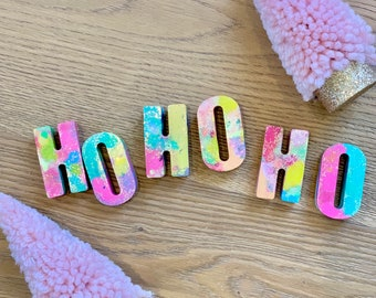 """Handmade Letter Crayons. Pastel Christmas and Holiday """"HO HO HO"""" Stocking Stuffers. Party Favor. Kids gift. Kids party. Educational toy."""