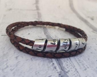 Custom Mens Leather Bracelet, Secret Message Bracelet, Mens Personalised, Custom Leather Bracelets for Men, Mens Bracelet Personalized