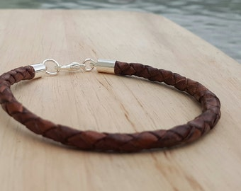 Men's leather bracelet, brown braided leather bracelet, mens leather jewellery, leather wedding anniversary, gift for fathers day birthday