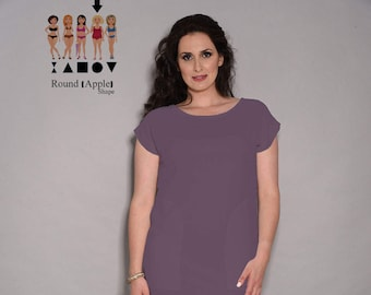 Purple dress, womens dresses, loose dresses, office dress, knee length dress, short dress, day dress, pocket dress, summer dresses