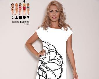 White dress, print dress, floral dress, casual dress, gift for her, loose dresses, party dress, knee length dress, flower dress