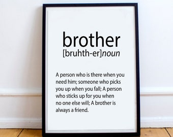 CHRISMAS GIFT For Brother Gift Ideas Print Definition Big Birthday Art