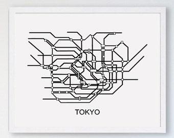 Tokyo Subway Map Framed.Tokyo Subway Map Etsy