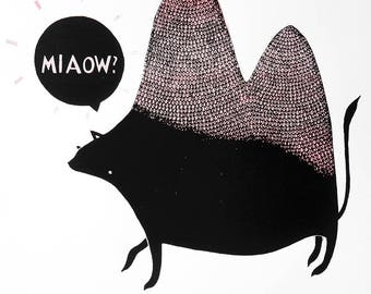 MIAOW? - Screenprint (Confused cat/camel/creature)