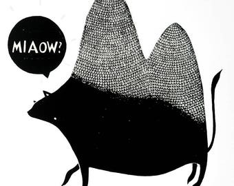 MIAOW? - Screenprint (Confused cat/camel/creature) GREY