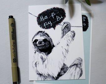 Ha..p..py.. Bi..  Sloth - Postcard