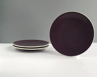 HOLD FOR S - Vintage Massimo Vignelli Sasaki Colorstone Plum Salad Plates, Vintage Sasaki Colorstone Plum Salad Plates Set of 3
