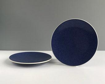 Pair of Massimo Vignelli Sasaki Colorstone Sapphire Salad  Plates, Modern Vintage Sasaki Colorstone Sapphire Blue Salad Plates Set of 2