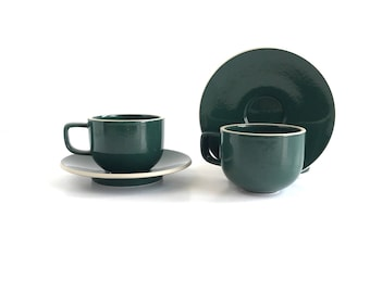 Vintage Modern Massimo Vignelli Sasaki Colorstone in Hunter Green Cups and Saucers