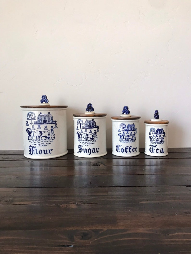Mid Century Metlox Poppytrail Provincial Blue Kitchen Canister Set,  Discontinued Metlox Provincial Blue Flour Sugar Coffee Tea Canisters