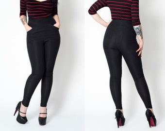 Black retro skinny rockailly high waist stretch pinup pants