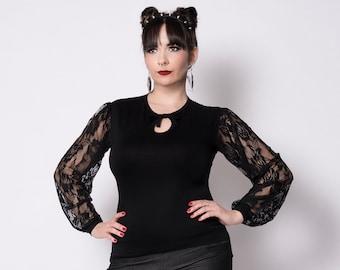 Long sleeves black Divina top by Putré-Fashion, lace gothic keyhole top