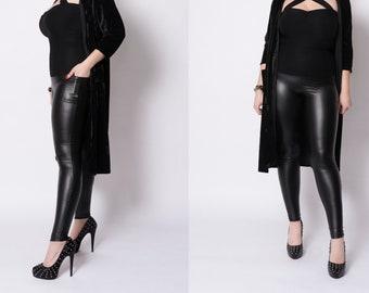 Black Bestie pleather leggings by Putré-Fashion, high waist shiny leggings with pockets