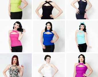 Promo listing **3 pinup vavavoom stretch halter tops for the price of 2