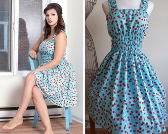 Blue retro cherries rockabilly dress small to plus size