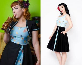 Exotic pastel tiki flamengo pin up dress with side pockets