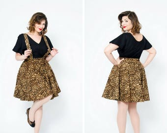 Leopard full circle retro skirt with pockets and removable suspenders