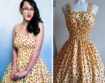 Retro yellow cherries dress jumperskirt small to plus size