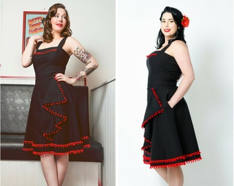 Retro black/red pinup swing dress with pockets and pompoms