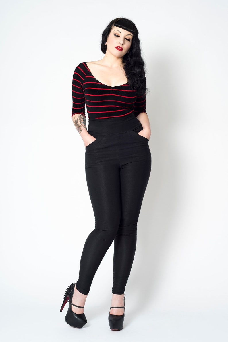 1960s Style Clothing & 60s Fashion Black retro skinny rockailly high waist stretch pinup pants $57.73 AT vintagedancer.com