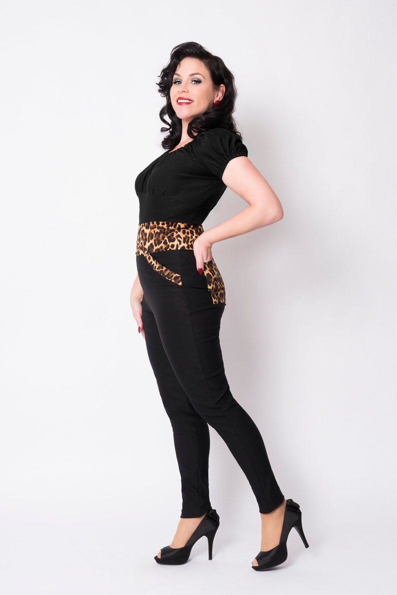 1960s Style Clothing & 60s Fashion Black/leopard Jenny pants by Putré-Fashion high waist rockabilly pinup pants $57.73 AT vintagedancer.com