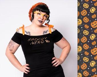 Spooky nerd (pumpkin version) top by Putré-Fashion, rockabilly halloween geek top