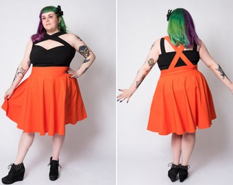 Neon orange Sandy skirt by Putré-Fashion, full circle skirt with suspenders and side pockets