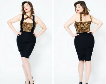 Sandy pencil skirt by Putré-Fashion, retro pinup  skirt with removable suspenders