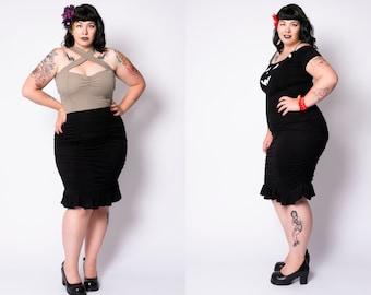 Black Lily skirt by Putré-Fashion, pencil retro ruched skirt xs to plus size