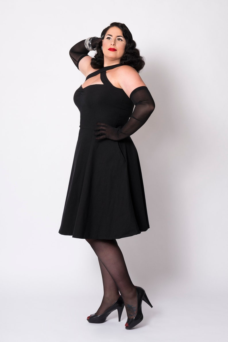 Plus Size Retro Dresses 50s, 60s ,70s, 80s, 90s Black Vavavoom swing dress by Putré-Fashion vintage style pinup dress with pockets $66.23 AT vintagedancer.com
