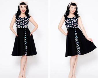 Black drive in pop corn movie theater dress with pockets