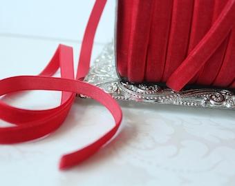 3/8 inch (10mm)  Red Velveteen Ribbon /   VRYM38-250