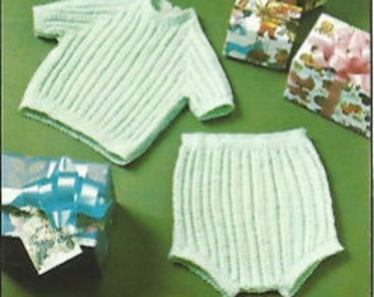Vintage 1950s 60s Princess Pat Infant Girl Knit Top and Diaper Cover Set  0-3 Months