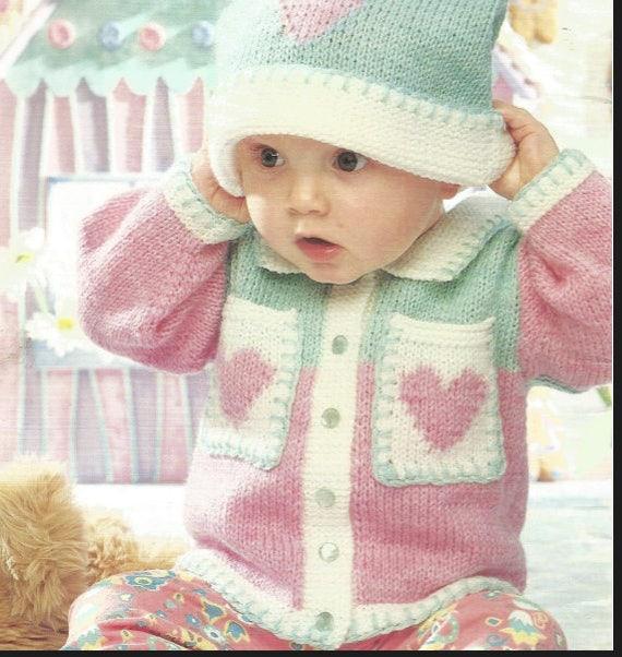 Chaqueta de bebé de punto / bolsillos y sombrero Vintage | Etsy