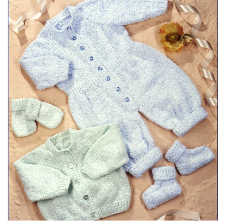 a9187f658a03 Knit Baby Raglan Cardigan  Romper Suit  Booties and Mitts